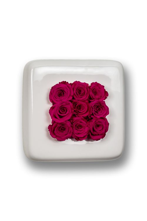 Infinity-Bloom Chest - weiß/berry - 16x16 cm